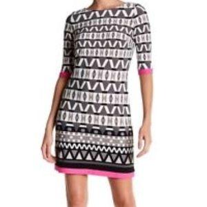 Eliza J Boat Neck Geo Print Sheath Dress